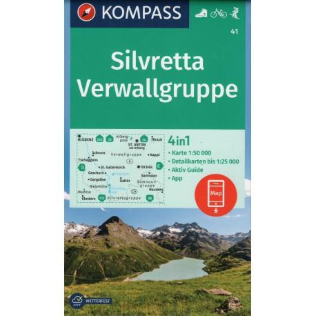 Kompass 41 Silvretta, Verwallgruppe 1:50 000