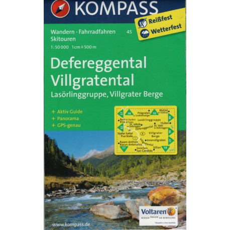 Kompass 45 Defereggental, Villgrater Tal, Lasörlinggruppe 1:50 000