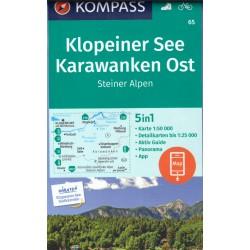 Kompass 65 Klopeiner See, Karawanken Ost, Steiner Alpen 1:50 000