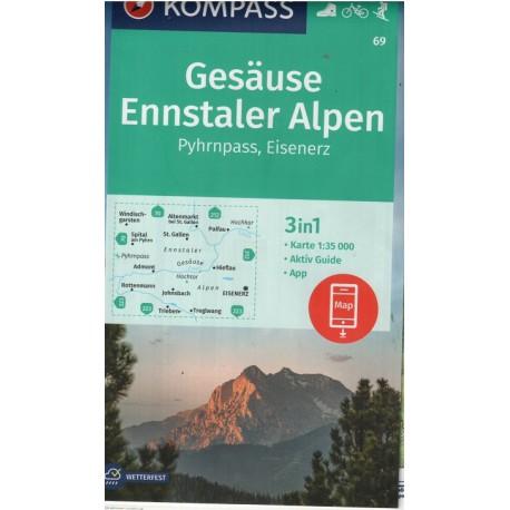 69 Gesäuse, Ennstaler Alpen, Pyhrn, Eisenerz 1:50 000