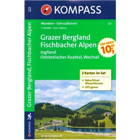 Kompass 221 Grazer Bergland, Fischbacher Alpen 1:50 000 turistická mapa