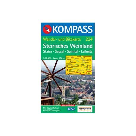 Kompass 224 Steirisches Weinland, Steinz, Sausal, Sulmtal, Liebnitz 1:50 000