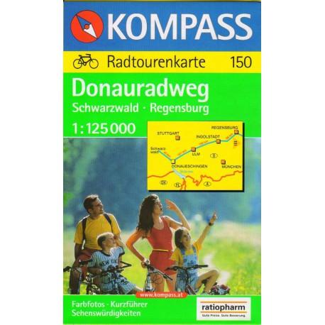 Kompass 150 Donau Radweg, Schwarzwald - Regensburg 1:125 000