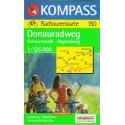 Kompass 150 Donau-Radweg/Dunajská cyklostezka, Schwarzwald-Regensburg 1:125 000 cyklomapa