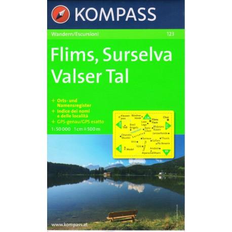 Kompass 123 Flims, Surselva, Valser Tal 1:50 000