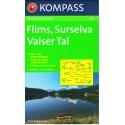 Kompass 123 Flims, Surselva, Valser Tal 1:50 000 turistická mapa