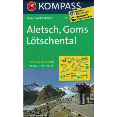 Kompass 122 Aletsch, Goms, Lötschental 1:50 000