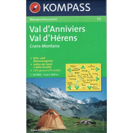115 Val d'Anniviers, Val d'Hérens, Crans-Montana 1:50 000