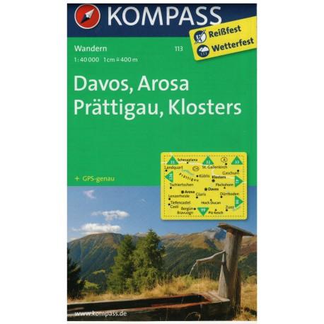 Kompass 113 Davos, Arosa, Prättigau, Klosters 1:50 000