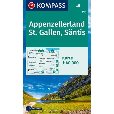 Kompass 112 Appenzellerland, St.Gallen, Säntis 1:50 000