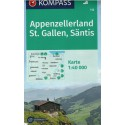 Kompass 112 Appenzellerland, St.Gallen, Säntis 1:50 000 turistická mapa
