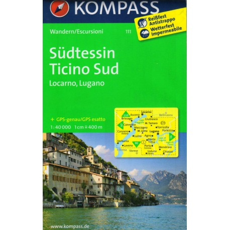 Kompass 111 Südtessin, Ticino Sud, Locarno, Lugano 1:40 000 turistická mapa