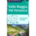 Kompass 110 Valle Maggia, Val Verzasca 1:40 000 turistická mapa