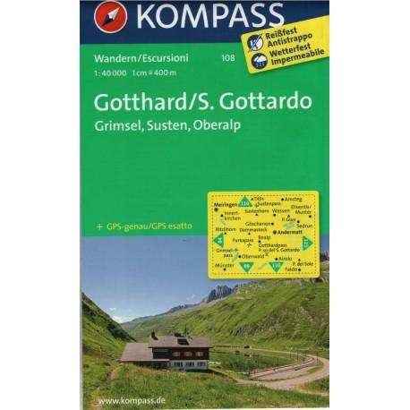Kompass 108 Gotthard/S. Gottardo, Grimsel, Susten, Oberalp 1:50 000