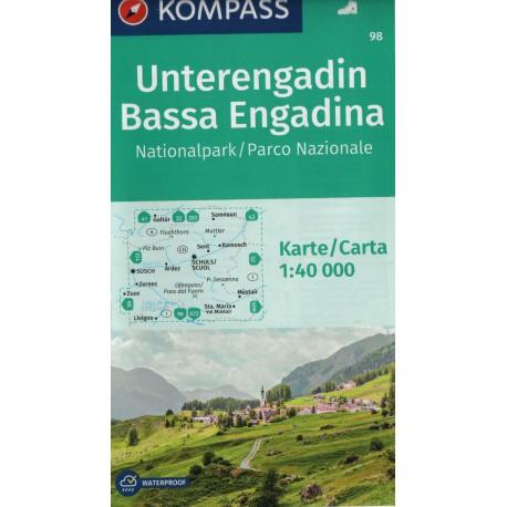 Kompass 98 Unterengadin, Bassa Engadina 1:40 000 turistická mapa