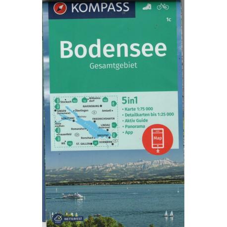 Kompass 1c Bodensee, Gesamtgebiet 1:75 000