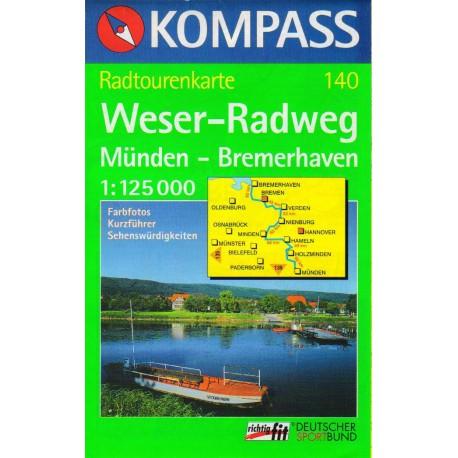 Kompass 140 Weser-Radweg, Münden - Bremerhaven  1:125 000