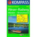 Kompass 140 Weser-Radweg, Münden - Bremerhaven  1:125 000 cykloturistická mapa