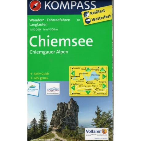 Kompass 10 Chiemsee, Chiemgauer Alpen 1:50 000