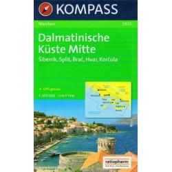 Kompass 2902 Dalmatinische Küste Mitte 1:100 000