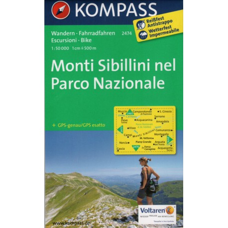 Kompass 2474 Monti Sibillini 1:50 000 turistická mapa