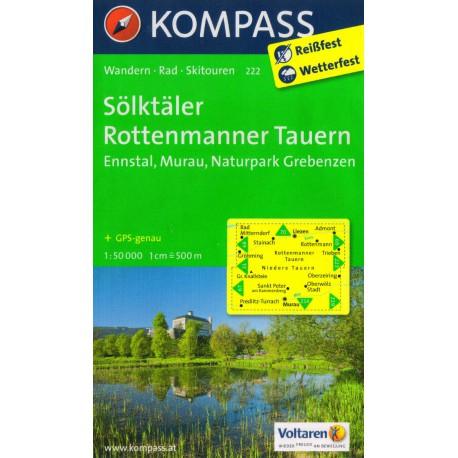 Kompass 222 Sölktäler, Rottenmanner Tauern, Ennstal, Murau 1:50 000 turistická mapa