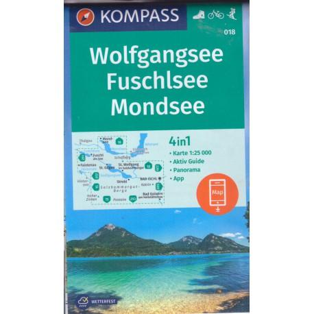 Kompass 018 Wolfgangsee, Fuschlsee, Mondsee 1:25 000