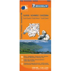 Michelin 552 Švýcarsko jihozápad 1:200 000 automapa