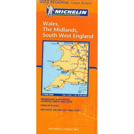 Michelin 503 Wales, The Midlands, South West England 1:400 000 automapa