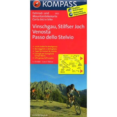 Kompass 3412 Vinschgau, Stilfser Joch, Venosta, Stelvio 1:70 000 cykloturistická mapa