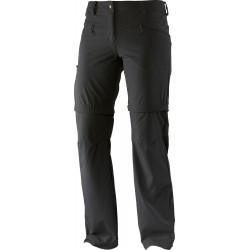 Salomon Wayfarer Zip Pant W black 370978 dámské odepínací turistické softshellové kalhoty