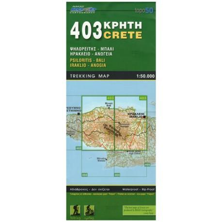 ORAMA 403 Kréta Psiloritis, Bali, Iraklio, Anogia 1:50 000 turistická mapa