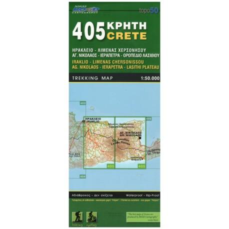 ORAMA 405 Kréta Iraklio, Ag. Nikolaos, Ierapetra, Lasithi Plateau 1:50 000 turistická mapa