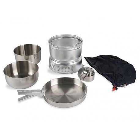Tatonka Multi Set With Alcohol Burner nerezové kempingové nádobí + vařič na tekutý líh
