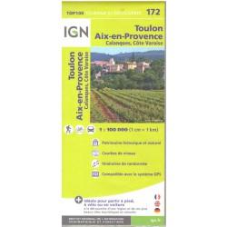 IGN 172 Toulon, Aix-en-Provence 1:100 000 turistická mapa