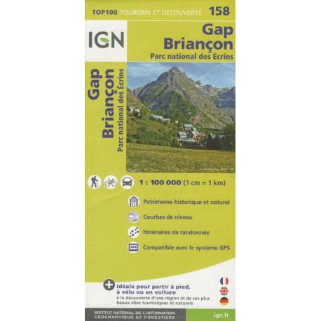 IGN 158 Gap, Briançon, NP Écrins 1:100 000 turistická mapa