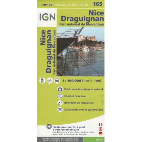 IGN 165 Nice, Draguignan, NP Mercantour 1:100 000 turistická mapa