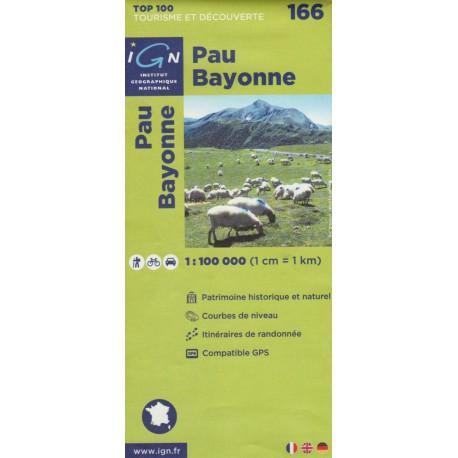 IGN 166 Pau, Bayonne 1:100 000 turistická mapa