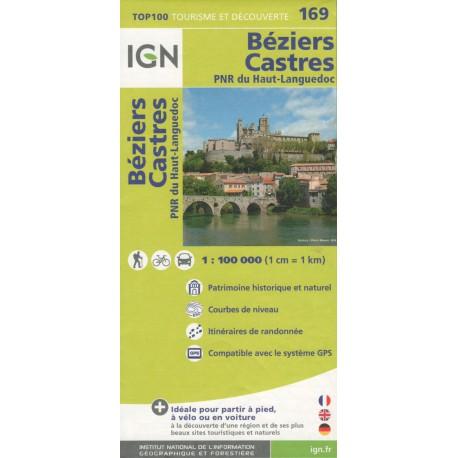 IGN 169 Béziers, Castres, PNR Haut-Languedoc 1:100 000 turistická mapa