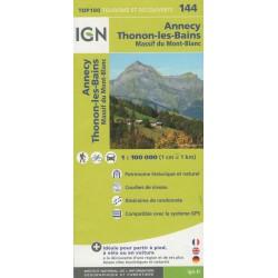IGN 144 Annecy, Thonon-les-Bains, Massif du Mont-Blanc 1:100 000 turistická mapa