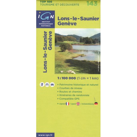 IGN 143 Lons-le-Saunier, Geneve 1:100 000 turistická mapa