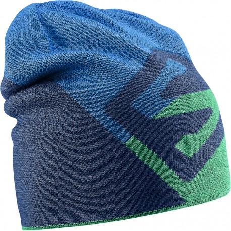 Salomon Flat Spin Reversible Beanie u. blue/r. green/m. blue 375569 unisex pletená čepice