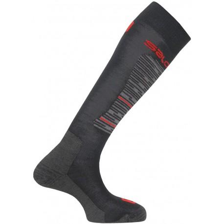 Salomon Mission black/grey/bright red 355957 pánské lyžařské podkolenky Merino vlna