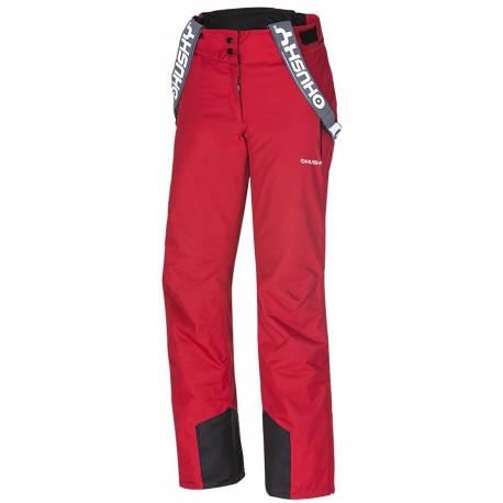 Husky Brita červená dámské nepromokavé zimní lyžařské kalhoty Aquablock Plus