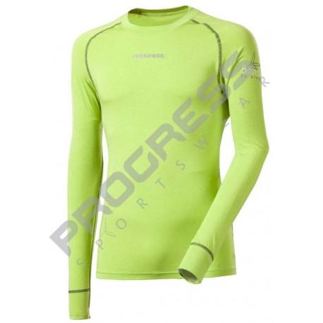 Progress Eco E NDR zelená/světle šedé prošití pánské triko dlouhý rukáv bambus