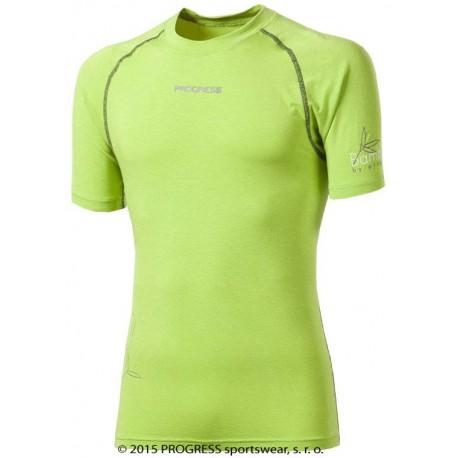 Progress Eco E NKR zelená/světle šedé prošití pánské triko krátký rukáv bambus
