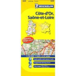 Michelin 320 Cote-d'Or, Saone-et-Loire 1:150 000 automapa