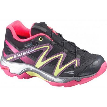 Salomon XT Wings WP K black/hot pink 366689 dětské nízké nepromokavé boty