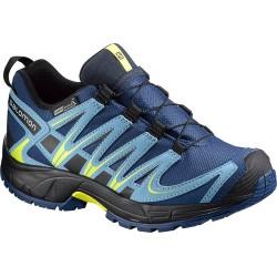 Salomon XA Pro 3D CS WP J midnight blue/blue gum 379110 dětské nízké nepromokavé boty
