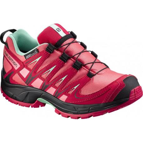 Salomon XA Pro 3D CS WP J madder pink/lucite green 379111 dětské nízké nepromokavé boty